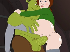 Princess Fiona impales herself on Shreks big dong