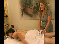 This alluring blonde bitch works at a massage parlor and just got another client. Watch her thoroughly massage this mans back, ma