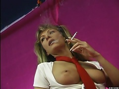 Nasty bunny, Alexandra Silk smokes playfully in a naughty dress while showing her perky little tits got her bootylici