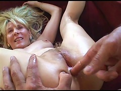 She is well endowed in taking such an extra large fat cock in her mature cunt in different ha