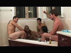 Have some fun in the tub with this filthy brunette bitch, Chloe Foxxx, as she is joined by four interracial studs for some wild fuc