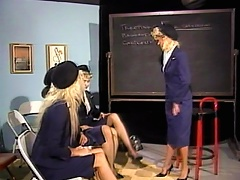 These three hot flight stewardess wannabes just found out that they have the same feelings towards the same sex. Watch as these b