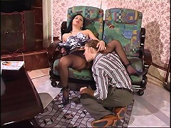Hot boyfriend calming a cutie with tender caressing of her pantyhosed pussy