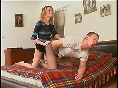 Cutie in control top tights rubbing against pantyhose clad cock like hell