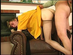 Lewd guy in shiny tights giving hot pantyhosejob aching for hardcore reward