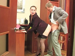 Sultry secretary in soft tights getting hammered right on her working table