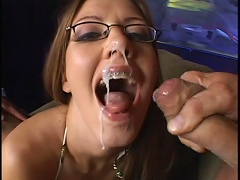 Nerdy looking Alicia Alighatti has a big appetite for huge dicks. Take notice at her skills as sh