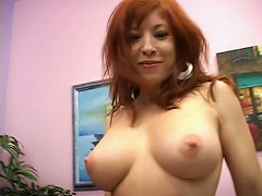 This mature redhead bitch will give your cock an extreme workout. See this mama tease this man by reveali