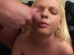 Sexy Blonde, Caressa Me gets her horny pussy caressed as she sucks her mans