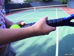 Vanessa Michaels takes a tennis lesson. Thing is her personal trai