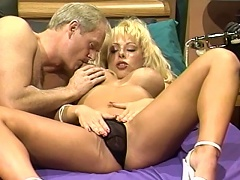 Here comes this filthy, dirty blonde slut Nikki Sinn as she pampers this daddys mature cock with he