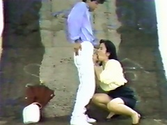 Meeting outside with her boyfriend, they came across a hidden area where they started to kiss passionately. This man is quite horny,