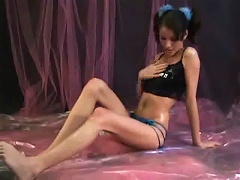 Lola talks dirty as she rubs baby oil all over her tight teen body