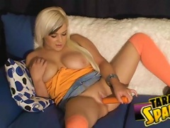 Slut Tara Sparx uses her massive orange toy on her tight pussy