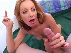 Take a closer look on how this nasty, fat cock will drill deep into this blonde sluts mouth.  He will forceful