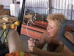 Perverted secretary Tracy sucks off a consturction workers big cock and makes him explode buckets of