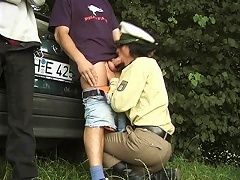 Catching two men over speeding disappoints this sexy horny policewoman as they acts aggressively ver
