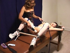 Asian maid, collared, whipped and tied gets tingling pleasure from this vibrator pres