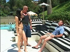 Spanking hot chick Victoria Sin in her sexy black bikini is so hor