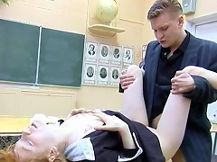 A beautiful innocent student got turned on with his handsome professor.