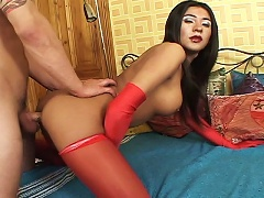 Filthy transexual with red underwear is ass-stretched nicely