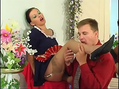 Pretty French maid in plain top stockings worshipped and humped by a master