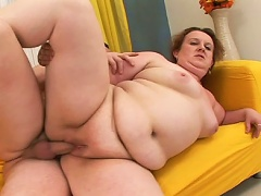 Fat redhead mom sucks and fucks her sons hot young friend