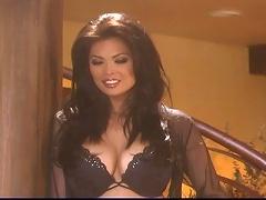 Cute Tera Patrick behind the scene of black lingerie shoot