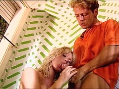 Nasty blondes blow off 7 men and one ends up fucked by Rocco
