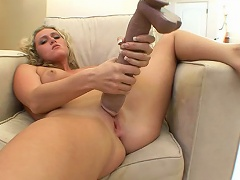 Horny Blonde Loves To Play With Big Toy In Her Pussy