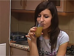 To become more relaxed, this couple decided to drink a little.  Look at this hot brunette babe that is ready t