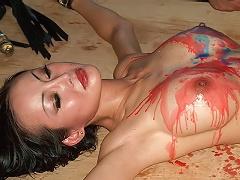 Asian slavegirl Ange Venus in hotwaxing torments