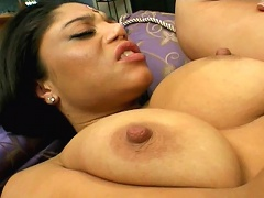 Good looking Indian babe with giant tits Chadra gets pussy hammered