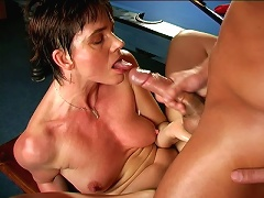 Winsome granny with big nipples Marketa gets wet muff humped hard