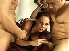 In this scene we have stacked porn star Gianna Michaels paired with a group of horny guys with massive dicks. She s