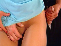 Gorgeous office babe getting petite beaver fingered and nailed by her boss