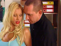 Sexual blonde office babe getting smashed by her horny boss