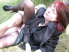 Chance lovers demonstrates crazy coupling on the grass and blow job in the car