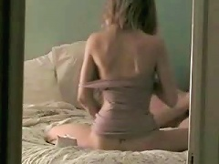 Cool blonde dish with a tattoe on the small of her back is a great cocksucker for her older hubby whos en