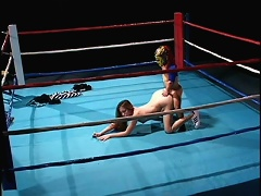 This hot brunette chick started as the referee for this two midgets who wrestle their ass off and ends up as the prize for the winn
