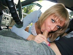 Sexy russian girl picked up by two guys and gets much cum in mouth