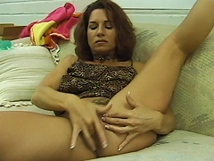 Filthy whore Cheyenne loves to do it on her own, the fondling of her hairy pussy and