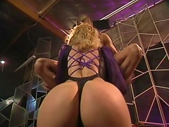 Reluctant blondie, Alex Jordan, can not say no to have this long-haired hunk for a steamy sex watched by horny voyeurs wh