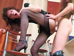 Sizzling hot sissy guy cant but pull down his pantyhose for ass-screwing
