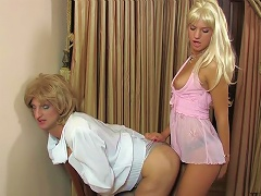 Hot sissy taking a serious amount of ass poking from a strap-on armed chick