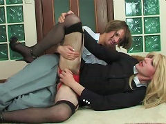 Freaky sissy guy prefers a female role in outrageously hot strap-on bonking